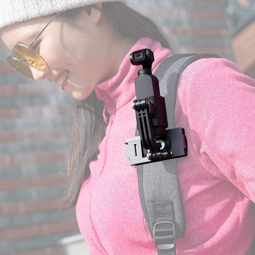 Honbobo Backpack Strap Clip Fixed Mount for DJI Osmo Action,Aluminum Clip Mount for DJI Osmo Pocket Gopro All Series,PGYTECH Product