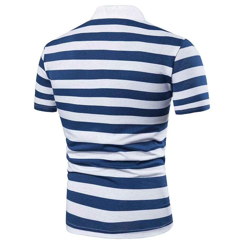 OKPEACE Mens Casual Slim Fit Short Sleeve Stand Collar Striped Polo Shirt