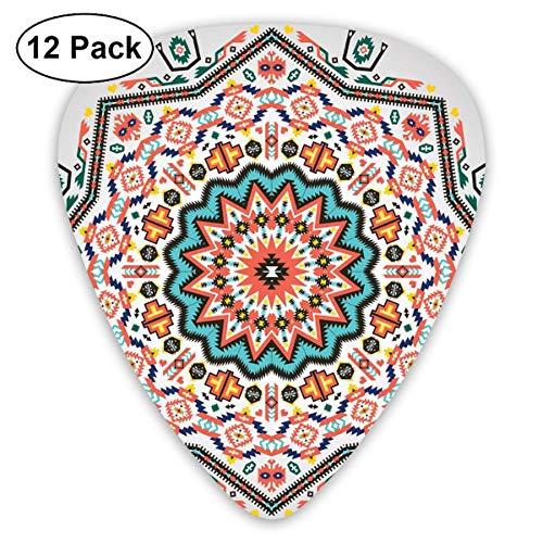 Guitar Picks 12-Pack,Abstract Aztec Style Kaleidoscope Themed Boho Ethnic Sun Pattern Art Print ()