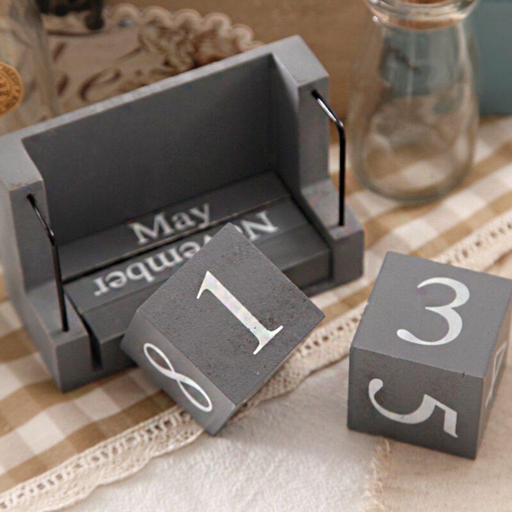 MyLifeUNIT Shabby Desktop Wood Block Perpetual Calendar by MyLifeUNIT (Image #4)
