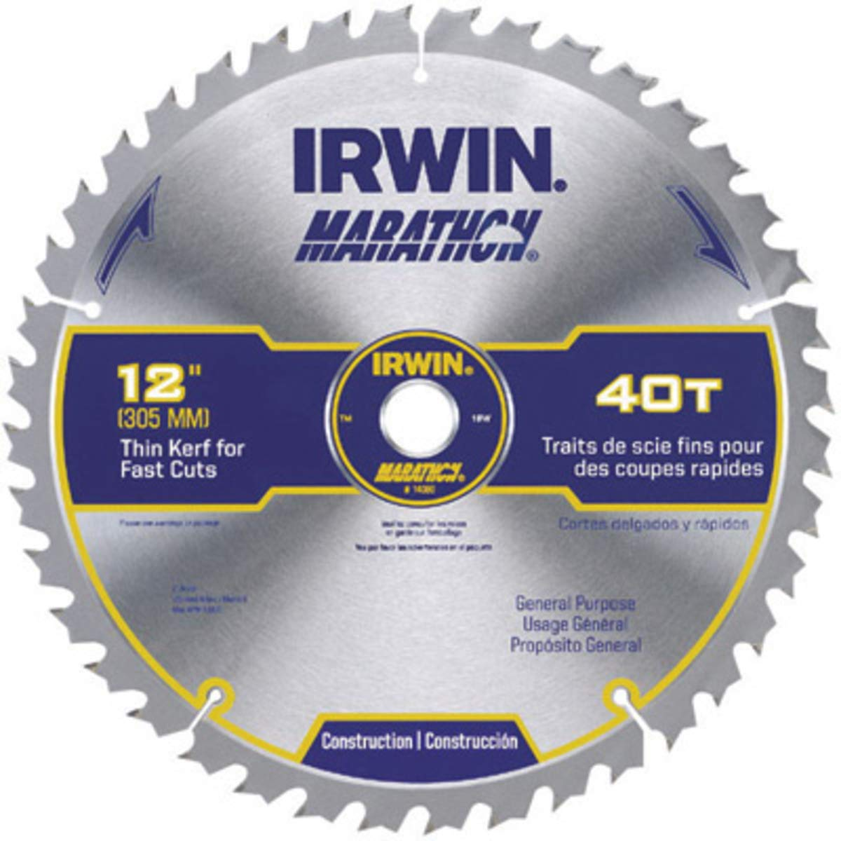 IRWIN 12'' X 1'' Diamond X .070'' 8300 RPM 40 Teeth ATB Grind Vise, Grip Marathon Carbide Tipped Circular Saw Blade (For Use With Miter/Table Saw) (Carded), 1 Each