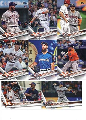 2017 Topps Update Series Houston Astros Team Set of 15 Cards: Yulieski Gurriel(#US8), George Springer(#US9), Brian McCann(#US13), BLAST OFF(#US14), Charlie Morton(#US39), Josh Reddick(#US70), Derek Fisher(#US90), Carlos Beltran(#US120), Dallas Keuchel(#US132), Alex Bregman(#US150), Jose Altuve(#US175), Derek Fisher(#US194), Francis Martes(#US258), Carlos Correa(#US260), Reymin Guduan/Jordan Jankowski(#US297) (Topps Houston Astros Baseball Card)