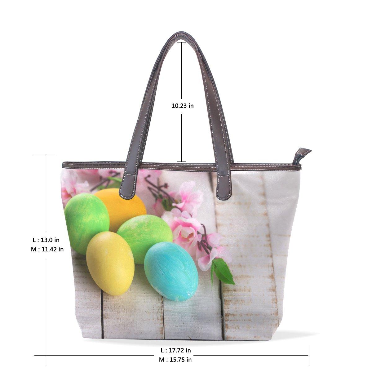 Ye Store Easter Eggs Lady PU Leather Handbag Tote Bag Shoulder Bag Shopping Bag