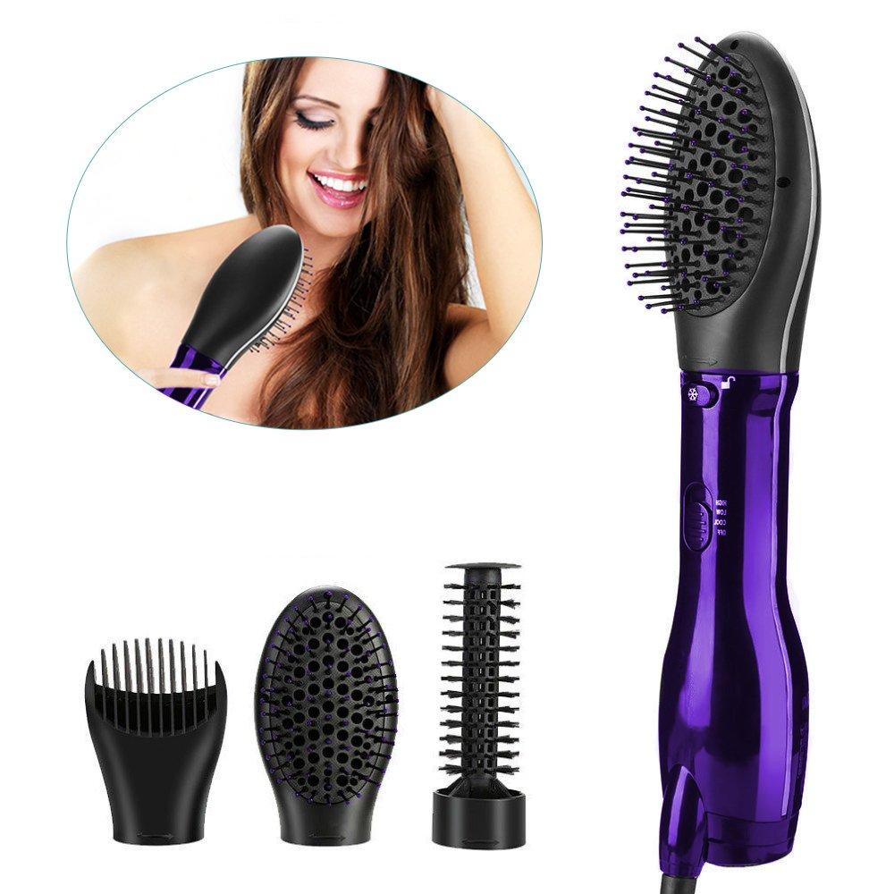 One-Step Hair Dryer & Volumizer-Multifunctional hot comb high-power home hair dryer,Salon Hot Air Paddle Styling Brush Negative Ion Generator Hair Straightener Curler Styler (3 in 1 purple)