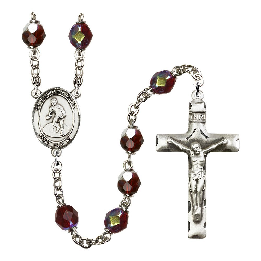 Guardian Angel / Wrestling Silver-Plated Rosary 7mm January Red Lock Link Aurora Borealis Beads Crucifix Size 1 3/4 x 1 medal