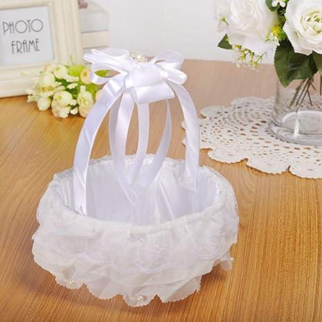 1# Silk Satin Material Wedding Flower Basket Girl Basket White Flower Basket Sets Wedding Ceremony Party Flower Basket