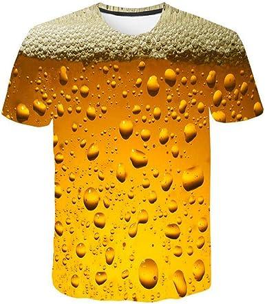 XuanhaFU Camisetas Hombre Manga Corta, Moda Personalidad Estampado de Burbujas de Cerveza 3D Hombres Manga Corta Camisa Blusa Superior: Amazon.es: Ropa y accesorios