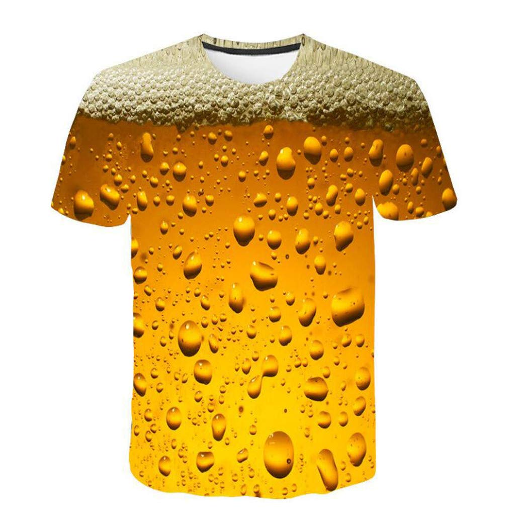 TADAMI Mens Funny Patrick's Day T-Shirts Plus Size Short Sleeve Novetly 3D Printed Yellow Tee Shirt