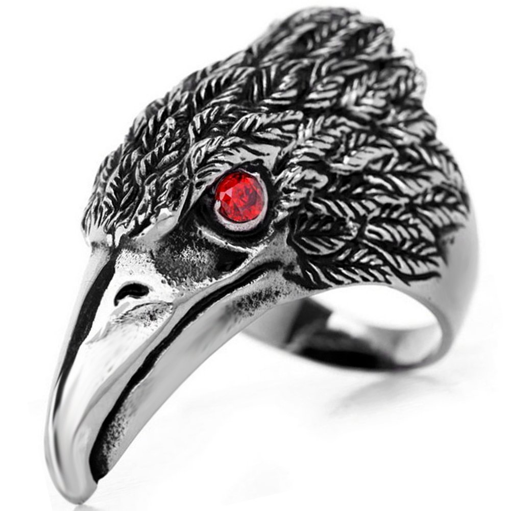 Flongo Men's Tribal Stainless Steel Red Eye Biker Eagle Hawk Band Ring, Size 10, Men's Biker Hawk Super Fly Ring, Men Women Weddding Engagement Ring by Flongo