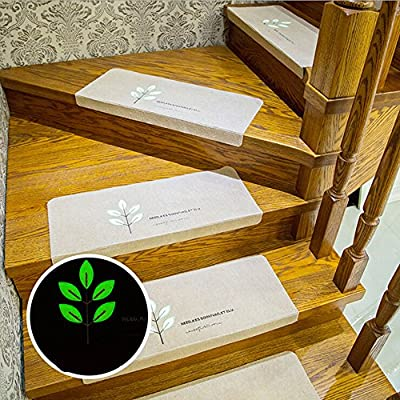 "Ehonestbuy Leaves Pattern Luminous Carpet Stair Tread Mats - (21.65""x8.66"") 