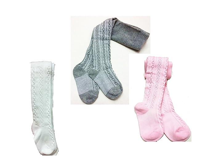 6a9fd37775391 Baby Toddler Girls Tights Knit Cotton Pantyhose Warm Leggings Pants  Stockings 3 Pairs (White/