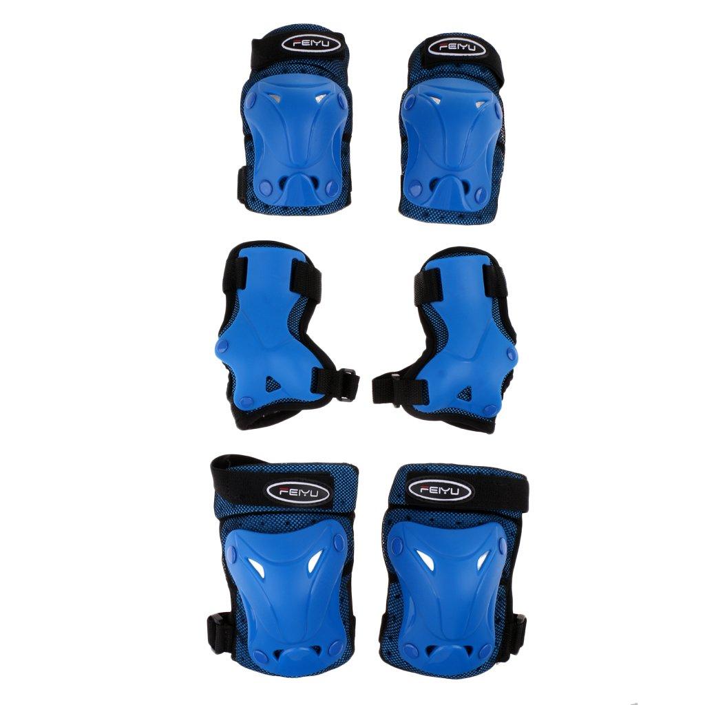 baoblade baoblaze 6のセット子供キッズスケートボードローラースケート保護、膝肘手首保護パッド安全ギアパッドガード – Sブルー