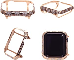 HJINVIGOUR Bling Spakling Exquisite Handwork Encrusted Zircon Crystal Diamond Rose Gold Case Cover Bezel Compatible Apple Watch Series 4 Series 5 44mm