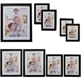 Giftgarden Black Matted Picture Frames Collage Multi Wall Frame set of 9 pcs, one 8x10, two 5x7, two 4x6, four 3.5x5, PVC lens