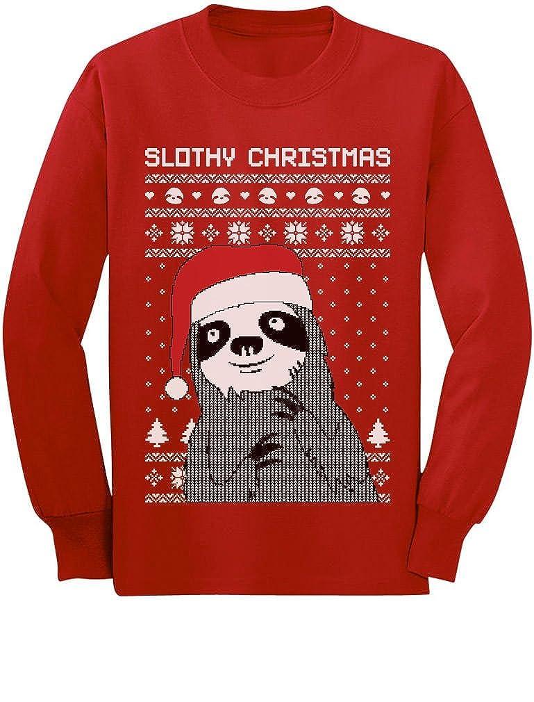 Slothy Christmas Ugly Christmas Sweater Youth Kids Long Sleeve T-Shirt GhPharagCm