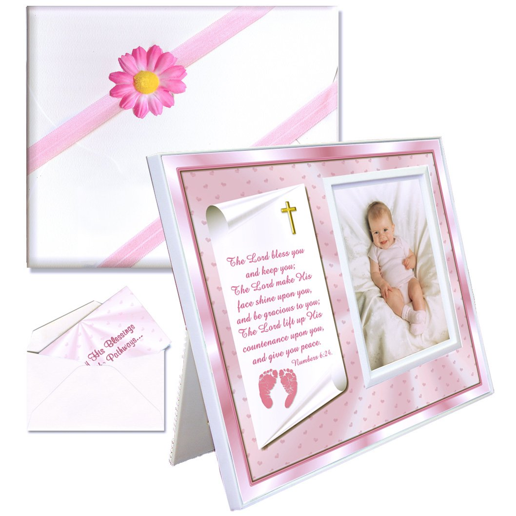 Christening Gift for Baby Girl Cute Picture Frame Affordable, Colorful Holds a 3.5 x 5 Photo Innovative Front-Load Design Pink Theme with Numbers 6 24-26 Verse