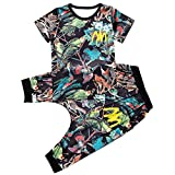 Vividda Kids Boys 2Pcs Colorful Bird Print T-Shirt and Floral Shorts Outfits Clothes for Summer 4-5 Years Old Black