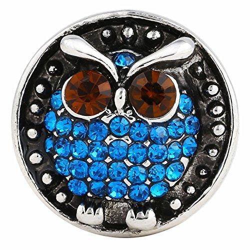 Morella click-button Bouton Pression Chouette avec pierres de zircone bleu
