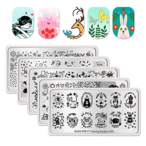 Born Pretty 5 Pcs Nail Art Stamping Templates Flowers Animals Rectangle Design Image Plates for Manicure Print DIY Tool