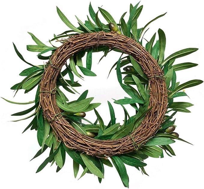 Surreh Couronne de feuilles dolivier artificielles avec couronne de fruits /à suspendre pour d/écoration murale