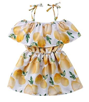 5729b6ecec6 unniful Baby Kids Girls Lemon Floral Printed Ruffle Strappy Dress Cute  Summer Sleeveless Sundress (90