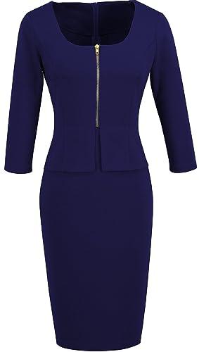 HOMEYEE - Vestito - Chiusura lampo anteriore tunica aderente - Donna 898