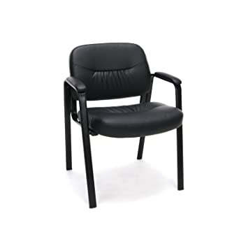 black side chair. Essentials Leather Executive Side Chair - Guest/Reception Chair, Black (ESS-9010