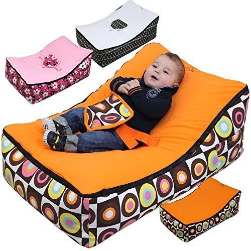 Monsieur Bébé ® Transat Pouf Bébé + 2 Assises + 2 Poches de rangement + Poignée de transport – Modèle Baby Pouf - Trois coloris
