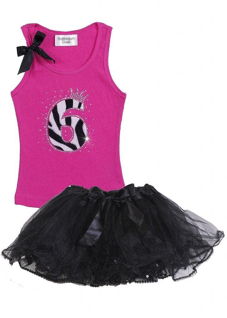 Bubblegum Divas Little Girls 6th Birthday Zebra Tank Top Tutu Set