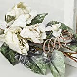 Factory Direct Craft Pair of Artificial Dried Rose Flocked Floral Swags for Event Decor, Interior Design, and Crafting