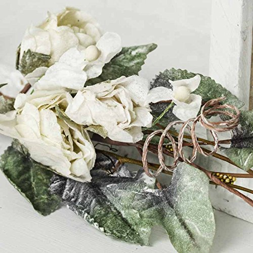 Factory Direct Craft Pair of Artificial Dried Rose Flocked Floral Swags for Event Decor, Interior Design, and Crafting Dried Floral Swags