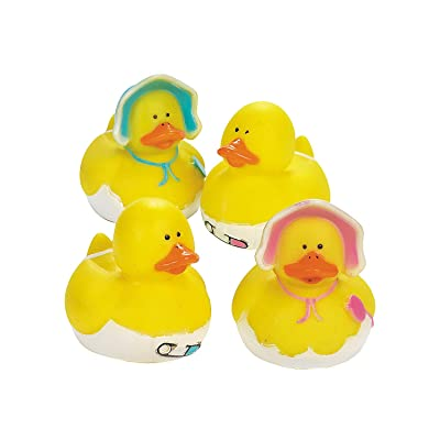 Fun Express - Baby Shower Rubber Duckies for Baby - Toys - Character Toys - Rubber Duckies - Baby - 12 Pieces : Bathtub Toys : Baby