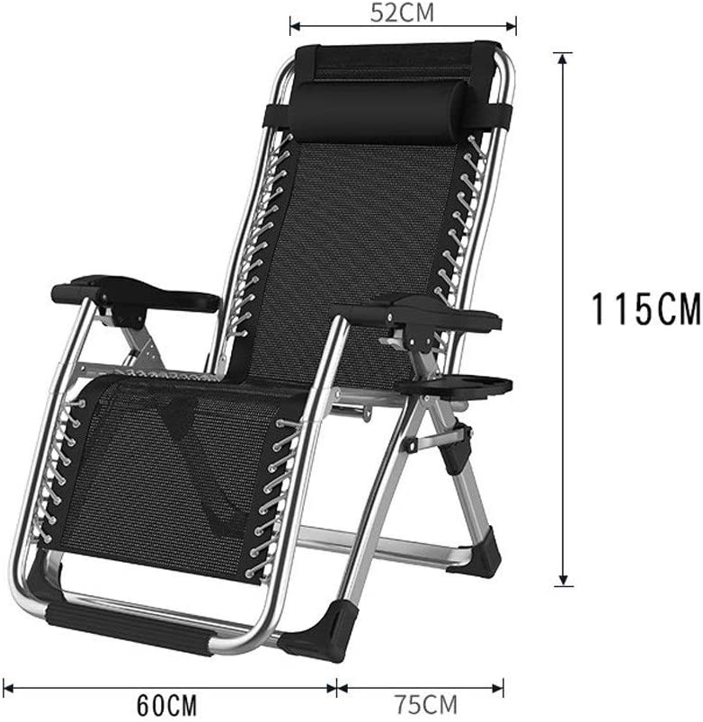 Siesta bed chair Folding Recliners Chair Office Portable Balcony Elderly Leisure Beach Accompanying Outdoor Lounger Lunch Siesta Double Alloy Lock Folding deck chair (Color : B) A