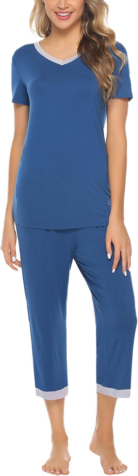 Hawiton Pijamas para Mujer Verano Corto de Algodón Conjunto de Pijamas de Manga Corta 2 Piezas: Amazon.es: Ropa y accesorios