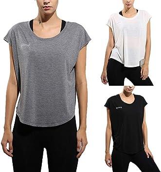 RunJuWuYe Camiseta de Secado rápido Mujeres Camisetas Sueltas Camisetas Deportivas Lisas y sólidas Mujeres Top de Yoga Pantalones Cortos de Mujer Camisas de Yoga de Manga Transpirable: Amazon.es: Deportes y aire libre