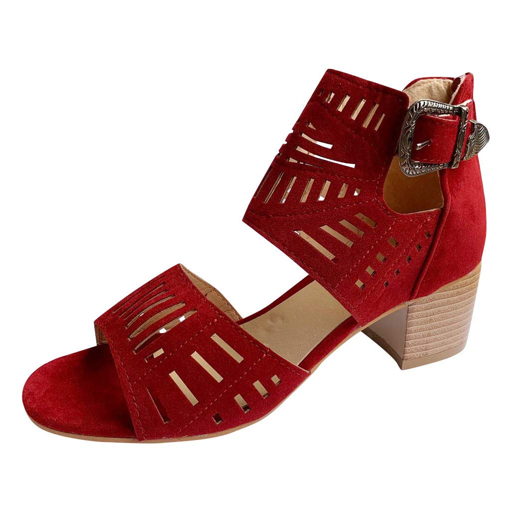 Women Chunky Heel High Heel Sandals Open Toe Cutout Gladiator Ankle Strap Platform Pump Sandals Peep Toe Buckle Booties (Wine, US:7) by Hotcl
