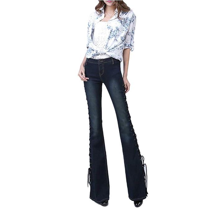 Pantalones Vaqueros de Pierna Ancha para Mujer Pantalones de ...