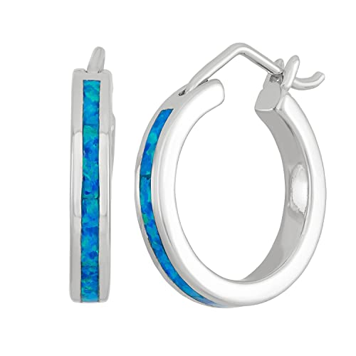 Sterling Silver, Gold Tone or Rose Tone Created Blue, White or Pink Opal 20mm Hoop Earrings
