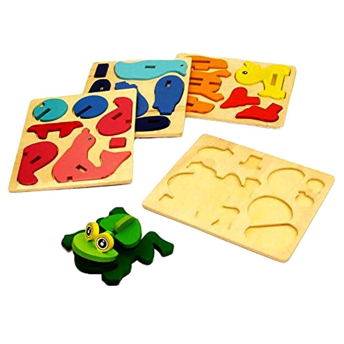 3D Wooden Sea Animals Assembly Toy - 4 pack Assorted DIY Sea Animals Wooden Puzzle Arts and Crafts Activity Set of 4 Wooden Amphibious Animals Stacking Toys