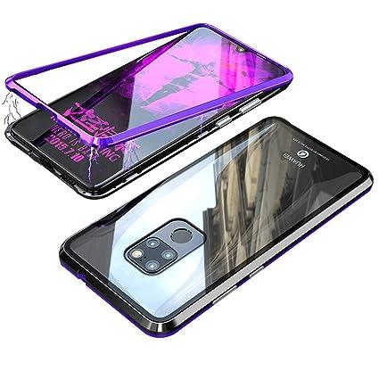 Carcasa Huawei Mate 20 x jonwelsy tecnología de adsorción magnética Forte Metal Bumper Frame, carcasa trasera en transparente cristal templado – Funda ...