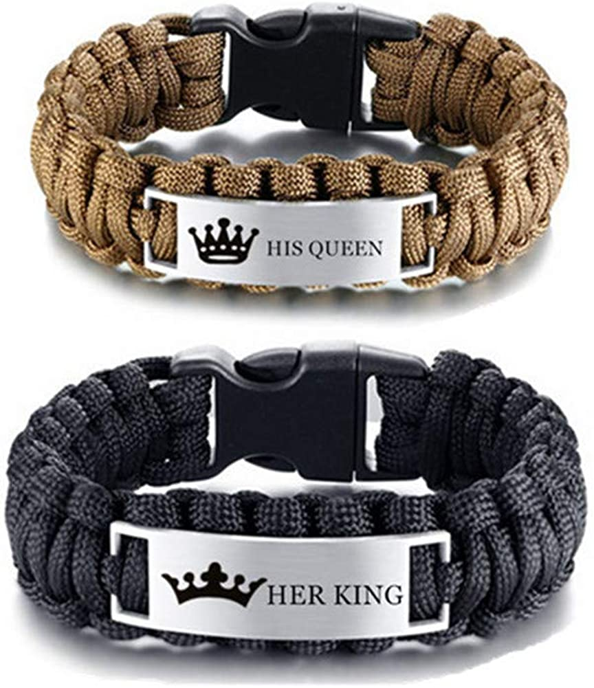 LiFashion LF Stainless Steel His Her King Queen Bracelets Outdoor Rope Paracord Survival Bracelet Sos Emergency Rescue Rope Couple Cuff Bracelets for Hiking Camping Activities Valentine