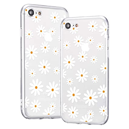 idocolors Girly Cases for iPhone XR for Girls & Women with Flowers Cute Daisy Cover Clear Soft TPU Thin Full Body Bumper Protective for iPhone ...