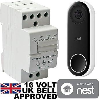 16v Transformer Bt8 16 8va For Nest Hello Doorbell 16 Volt Designed For Nest Hello Door Bell To Be Used In The Uk Amazon Co Uk Lighting