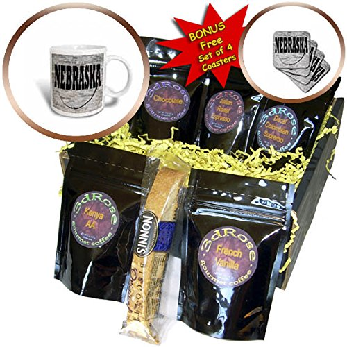 3dRose RinaPiro - US States - Nebraska. State Capital is Lincoln. - Coffee Gift Baskets - Coffee Gift Basket (cgb_268706_1)