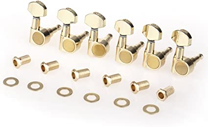 Musiclily 6-in-line Sealed Guitar Tuners Tuning Keys Pegs Machine Heads Set for Fender Stratocaster Telecaster Guitar,Gold