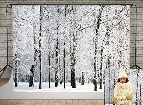 Kate Winter Photography Backdrops White Frozen Snow Backdrops Forest Tree Photo Background for Wedding Props (10x6.5ft)