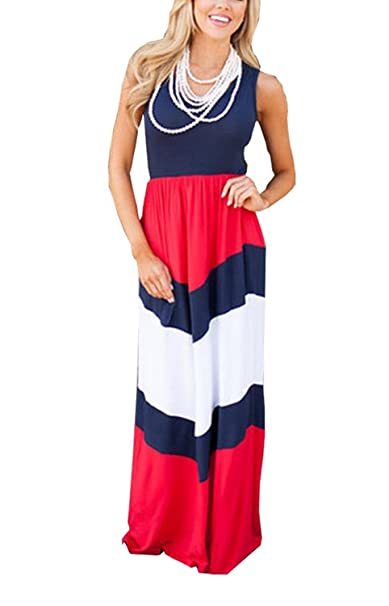 8347ab712 shangke Womens Zig Zag Scoop Neck Wave Striped Tank Maxi Long Dress ...