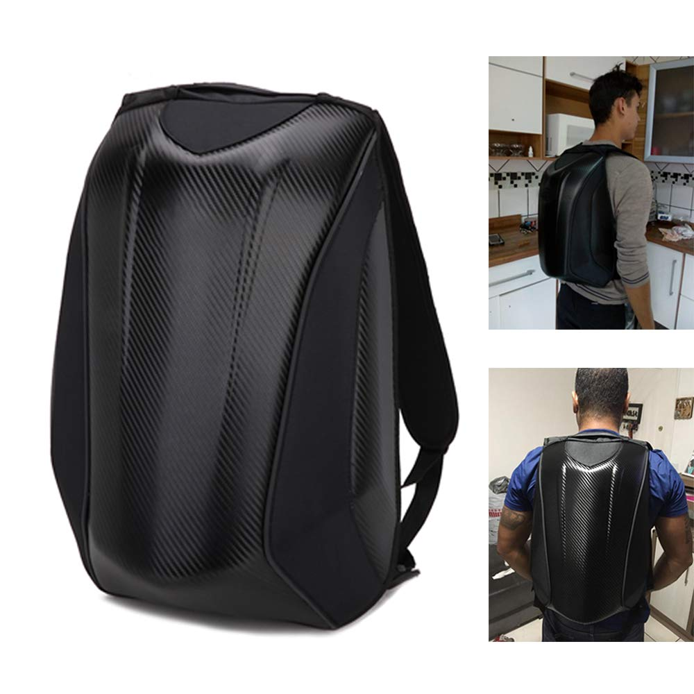 Motorcycle Backpack Helmet Hardshell Laptop Backpack Waterproof Carbon Fiber For Riding