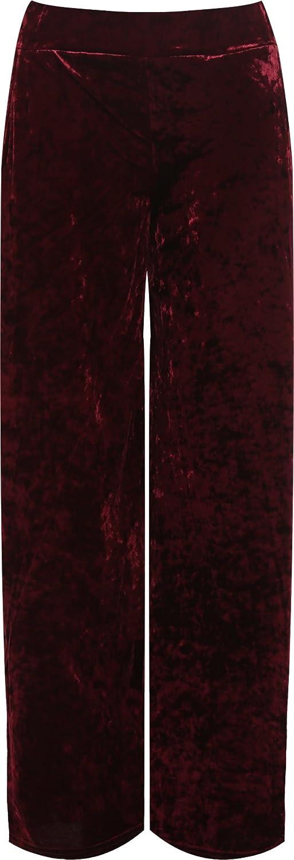 WearAll Women's Plus Velour Velvet Wide Flared Leg Pocket Pants Ladies Palazzo Trousers 12-26 88402