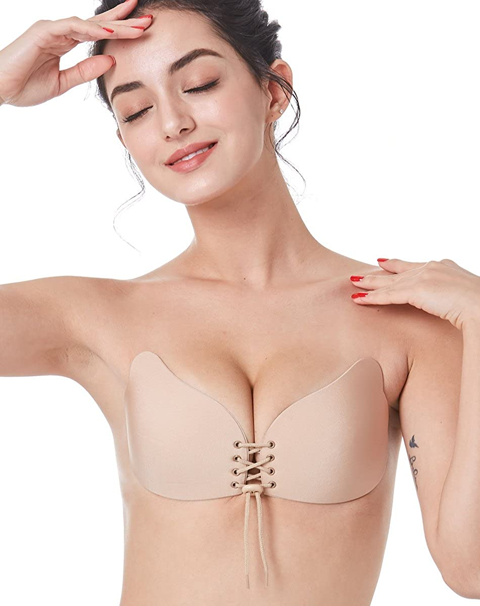 3 Beige Outry Reusable Strapless Adhesive Bra, Backless Silicone Invisible Sticky Bra  Available in Beige and Black  Up to DDD Size